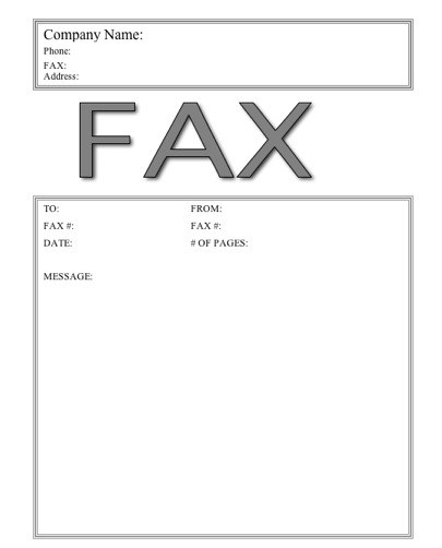 fax templates free