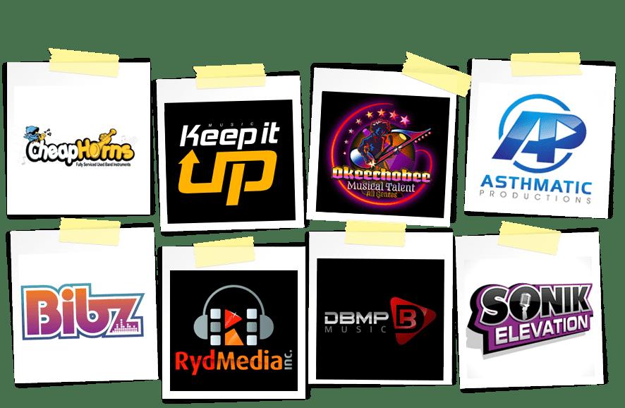 media and music logos