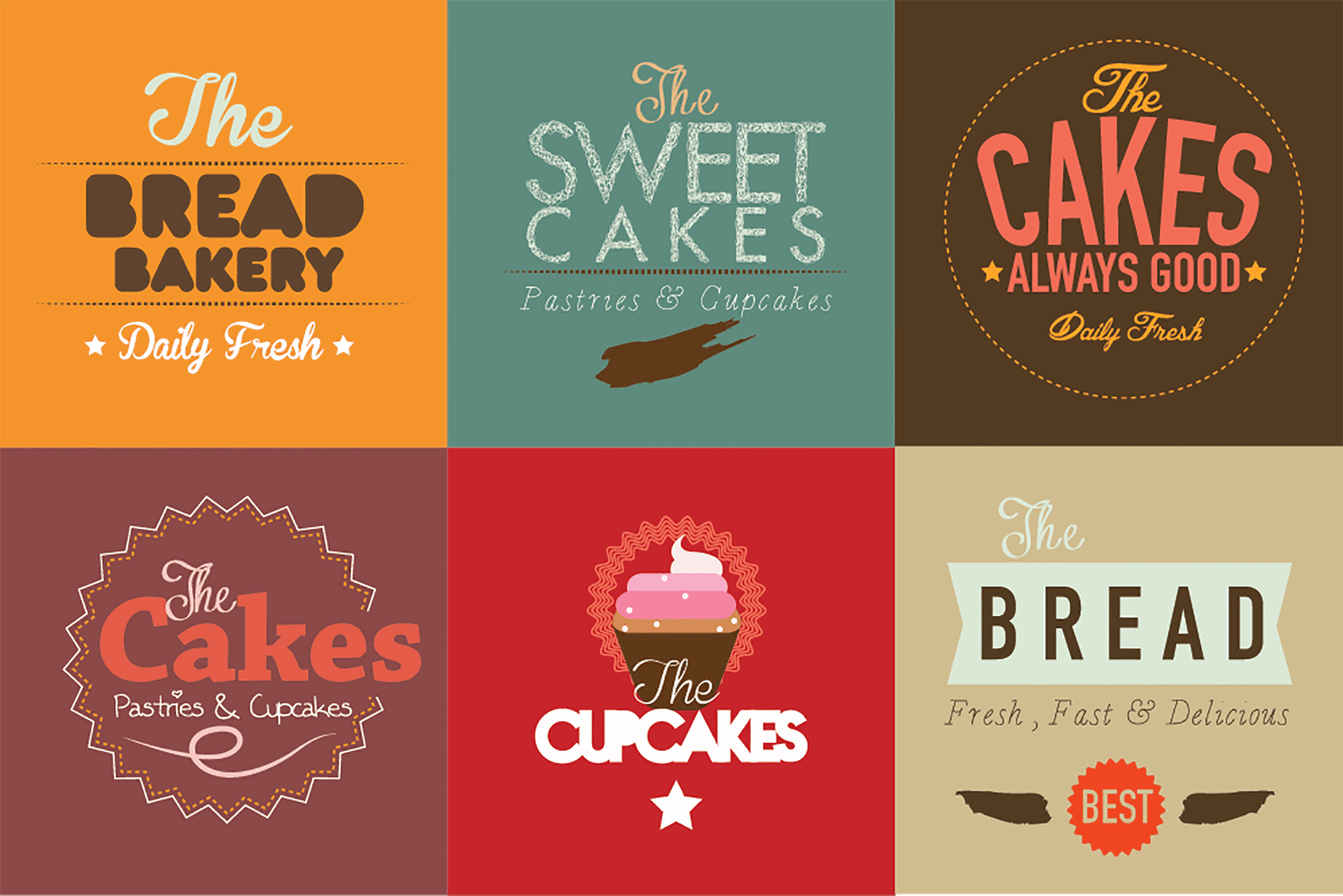 Typography Based Bakery Logo Badges
