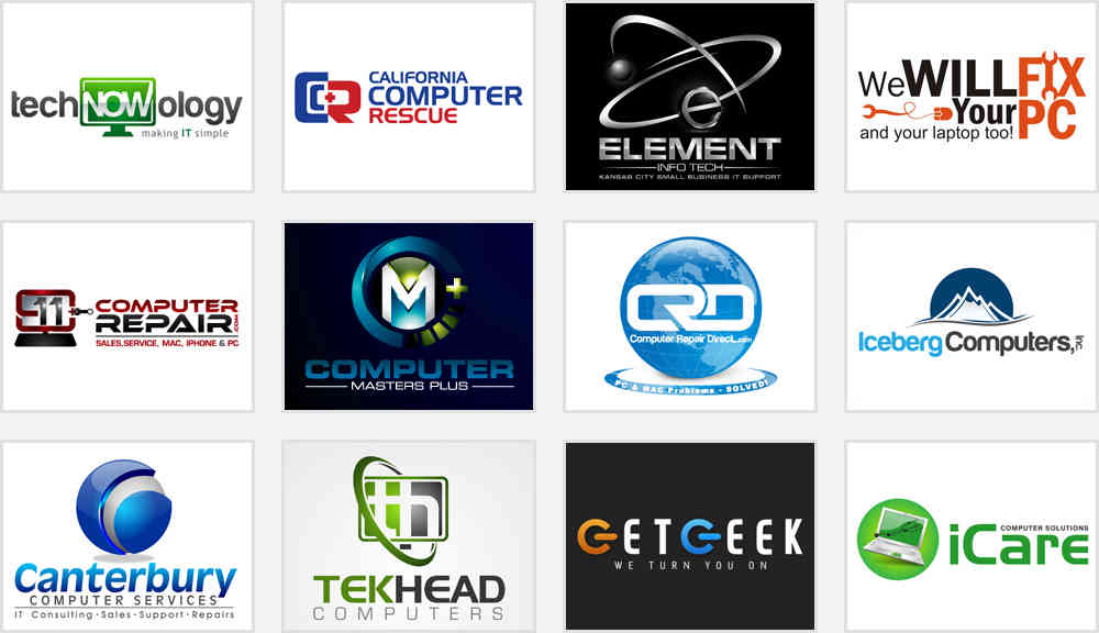 computer parts hardware and computer company logo design samples