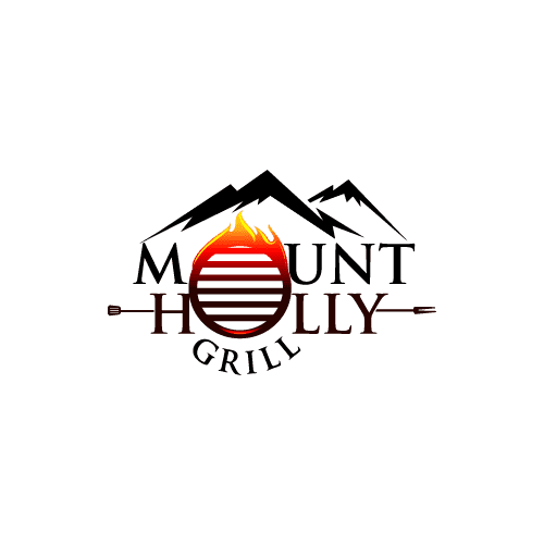 BBQ grill and flame logo