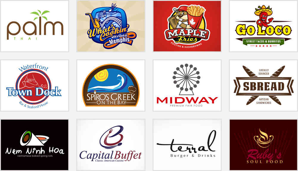 Restaurant logos and names