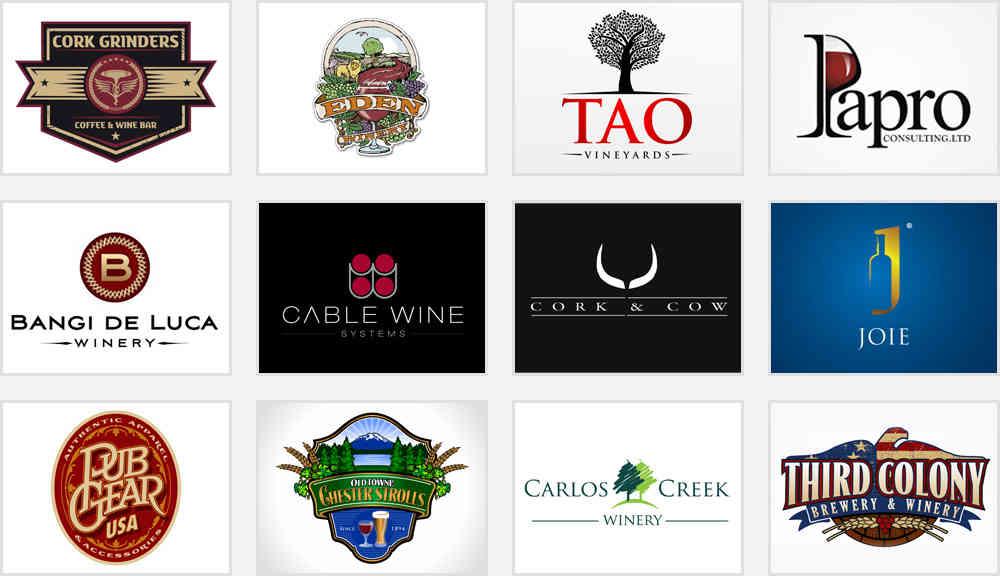 illustrative wine and spirit shop logos